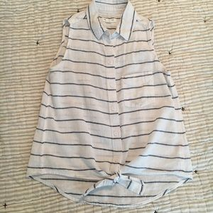 beach lunch lounge XS Striped Button Up Tie Top